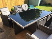 Amazing Cube outdoor dining set in rattan - 6/10 people - Excellent condition!
