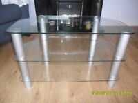 TV stand with clear glass