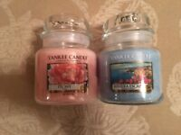 Yankee Candle Bundle Job Lot - 2x Medium Jars Riviera Escape & Peony, Flower Floral Pink Blue