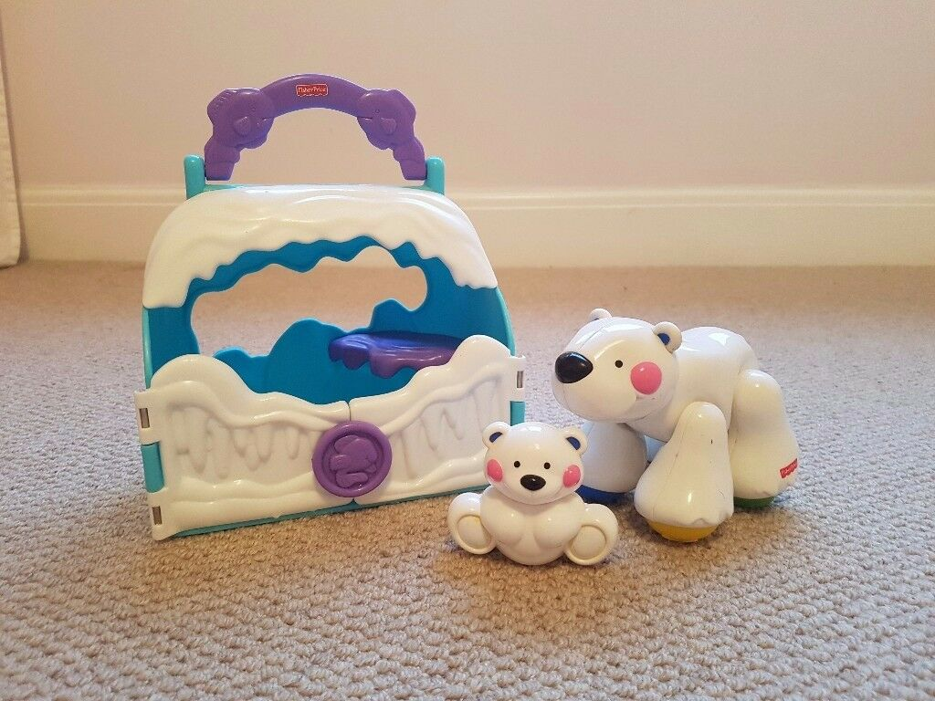 Fisher price Amazing Animals polar bear and cub take along tote baby toddler toy