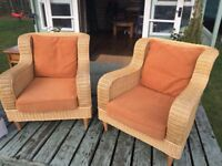 Pair of conservatory cain armchairs