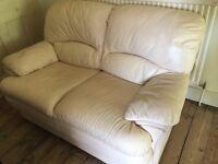 White Leather 2 seater small sofa