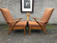 PAIR PARKER KNOLL ARMCHAIRS FREE DELIVERY DANISH MIDCENTURY VINTAGE RETRO