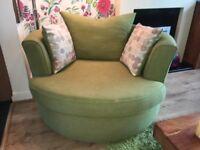 Large DFS Lime Green cuddler swivel chair