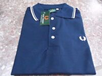 New Men's Navy Blue Fred Perry style T shirt size X large