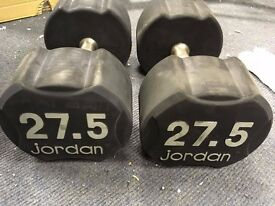 Pair of 27.5kg Jordan Ignite Premium Rubber Dumbbells,Commercial gym equipment