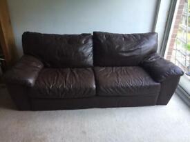 Three seater Ikea leather sofa