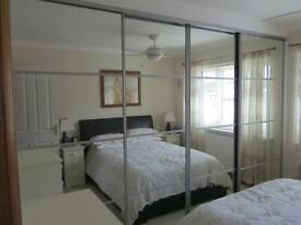 4 Silver Frame Mirror Wardrobe doors with track