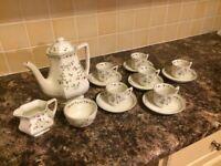 Adams coffee pot, 6 cups and saucers, milk jug and sugar bowl