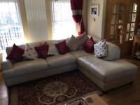 FAB ITALIAN LEATHER CORNER Suite Sofa settee recliner chair cream living dining