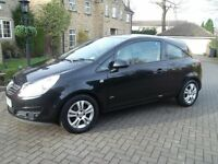 Vauxhall Corsa 2008 (3 Door) Black 1 Litre (Low Mileage for age 53500)