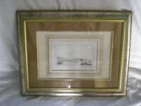 old print of Siracusa superb mount genuine old drawing inside