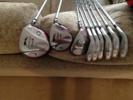 SET OF CLUBS WITH BAG AND TROLLEY, GREAT CONDITION