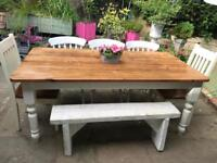 6ft antique pine dining table and 6 farmhouse chairs
