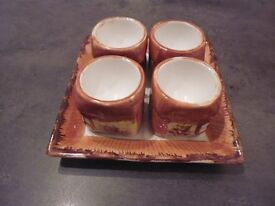 Vintage Cottage Ware 4 egg cups set with stand