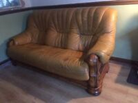 Free!! Leather and wood sofa settee couch 3 seater Vintage