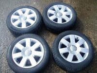 Genuine Audi TT A3 A4 alloy wheels with excellent tyres. 5x100. 205/55/16.