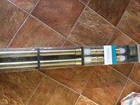 New 500cm bay window curtain pole, 35mm diam. Goldy colour