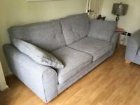 DFS Winslow 3 Seater Sofa & Armchair Silver