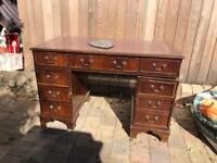 vintage leather topped wood wooden traditional desk mancave project