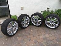 "Genuine Jaguar 20"" Senta alloy wheels with Pirelli Sottozero winter tyres and TPMS units"