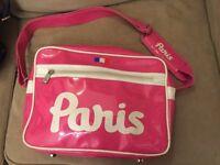 Shoulder Bag - Bright Pink with PARIS slogan