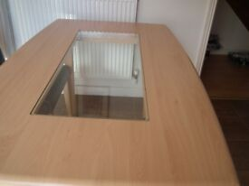 Dining room table, seats 6, light wood veneer, glass insert