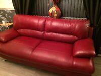 Red leather suite 2 seater and 3 seater excellent condition