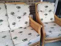 Cane 2 seater settee and chair ideal for consveratory