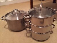 Ikea large kitchen stainless steel cooking pot and steamer pan - great condition