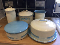 Cream and blue Jamie oliver storage tins