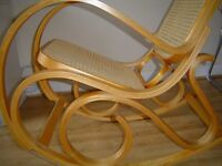 Bentwood Oak & Rattan Rocking Chair