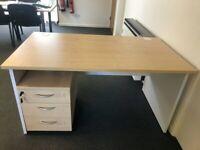 Rectangle Desk Maple Top, White Panels