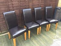 4 x brown faux leather chairs ( FREE )