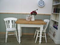 Stunning Pine Country Farmhouse 3ft Table and 2 Chair Set.