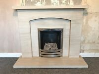Gas fire and stone fireplace surround / hearth