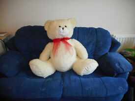 Gigantic White Teddy Bear with Red Ribbon