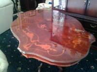 Inlaid mahogany dining table and 6 chairs