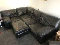 DFS Dark Grey Corner Sofa, Single Armchair and Footstool