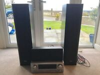 Denon home cinema system, DVD Player, all speakers and wires included.