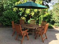 Hartman Solid Teak Wood Garden Table, 6 Chairs, Parasol and Cast Iron Stand