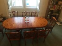 Ducal Rosedale Dining Table with 8 Harris Tweed chairs