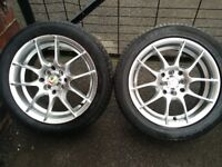 KEI Racing Tachi Hyper Silver 15 inch alloy wheels multi fit 4x114.3 195 50 15 excellent tyres! jdm