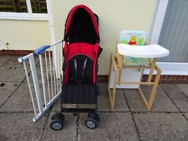 Folding Baby Stroller, Combination Highchair and Safety Gate, all little used