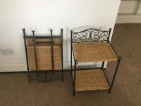 Pair Bedside (Ocassional) Tables - Iron, SeaGrass - New