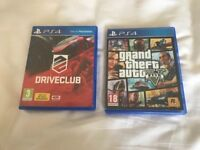 2 PS4 game in new condition GTA5 and DRIVECLUB £30 NO OFFERS. CAN DELIVER