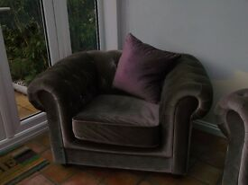 Tesco Chesterfield Sofa and Armchair - Mink Velvet-effect cover (with cushions)