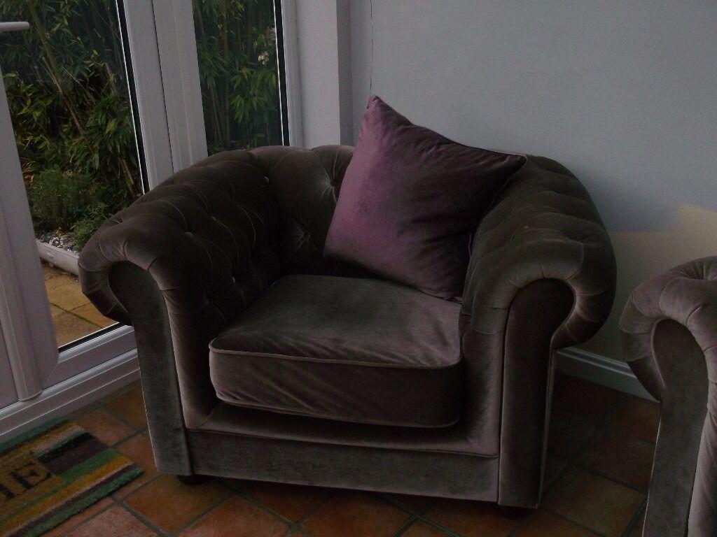 Tesco Living Room Furniture Tesco Chesterfield Sofa And Armchair Mink Velvet Effect Cover