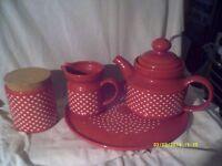RED TEAPOT MILK JUG SUGAR BOWL & TRAY etc etc BUTTER DISH TEA CADDY & JUG 8 PIECES