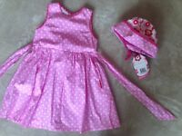 Girls Toby Tiger dress and hat age 1/2